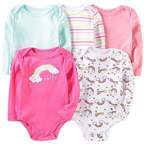 Pack de 5 Bebé Niñas Body Mono de Manga Larga Mameluco Algodón Peleles Comodo Pijama Regalo de Recien Nacido, 6-9 Meses