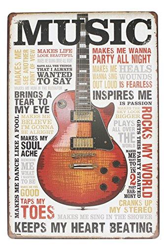 Hioni Music Inspires Me Keeps My Heart Beating Gitarre Musik Vintage Blechschild Poster Wandschild Wand Dekoration Metallschild Türschild
