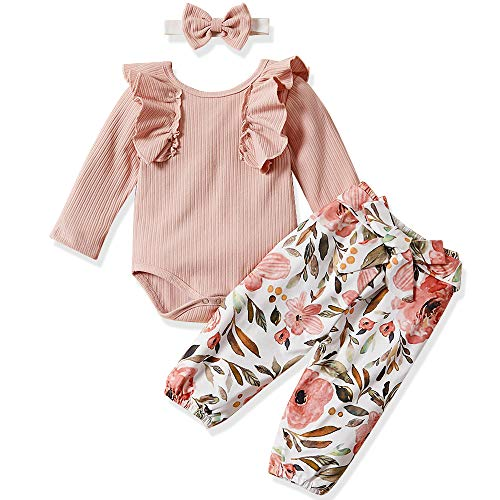 Newborn Baby Girls Clothes Romper+ Floral Long Pant+ Headband 3pcs Outfit 0-3 Months