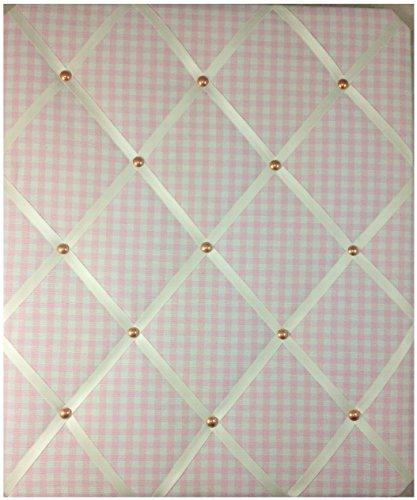 Tableaux d'affichage, Memo Planches, ruban grand format 40 x 48 cm VICHY ROSE avec détail or rose \