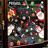 heekpek Autocollant de Noël Statique Père Noël Bonhomme De Neige Renne Décalcomanie Sticker Réutilisable pour Noël Maison Magasin Bureau Décoration