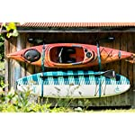 Pelican Double Kayak Storage Strap System - for Indoor and Outdoor Kayak & SUP Paddle Board Hangers - Comes with Paddle… 11 2 fully adjustable straps can also be used for hanging stand up paddle boards, canoes, surfboards, snowboards. Each strap is rated to hold up to 100 lb. and the overall system is rated to hold a total of 200 lb 2 loops for oars/paddles - SAVE SPACE - store your paddles and kayak off the ground and out of the way. Modular system can be use for one or two kayaks Easy to use Stainless steel heavy-duty carabiners and D-ring closure system