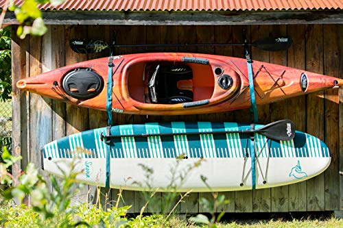 Pelican Double Kayak Storage Strap System - for Indoor and Outdoor Kayak & SUP Paddle Board Hangers - Comes with Paddle… 4 2 fully adjustable straps can also be used for hanging stand up paddle boards, canoes, surfboards, snowboards. Each strap is rated to hold up to 100 lb. and the overall system is rated to hold a total of 200 lb 2 loops for oars/paddles - SAVE SPACE - store your paddles and kayak off the ground and out of the way. Modular system can be use for one or two kayaks Easy to use Stainless steel heavy-duty carabiners and D-ring closure system