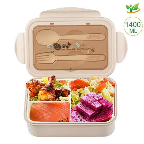 Lunchbox, bento box 1400ml voor kinderen en volwassenen met 3 vakken en bestek, lunchbox magnetronverwarming