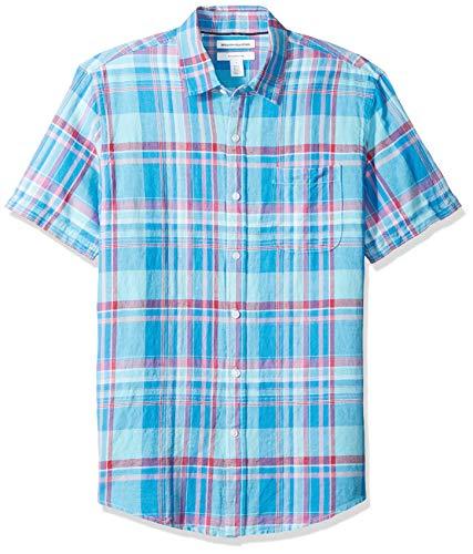 Amazon Essentials - Camisa de lino a rayas, de manga corta y corte entallado para hombre, Aguamarina Cuadros, US L (EU L)
