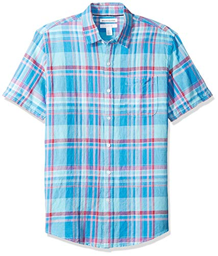 Amazon Essentials Men's Slim-Fit Short-Sleeve Plaid Linen Shirt, Aqua, Large
