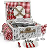 INNO STAGE Romantic Wicker Picnic Basket for 2 Persons, Special White Washed Willow Hamper Set with Big Insulated Cooler Compartment, Picnic Blanket and Cutlery Service Kit for Thanksgiving Day