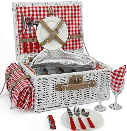 INNO STAGE Romantischer Picknickkorb aus Weidengeflecht für 2Personen, spezielles Set aus weißen Weidenkörben mit großem isoliertem Kühler, kostenlose Decke für Partys im Freien oder Camping MULTI-WAY