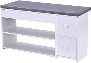 2 Tier Shoe Rack Bench with Cushion & 2 Drawer, shamoluotuo Shoe Organizer Sponge Padded Seat,...