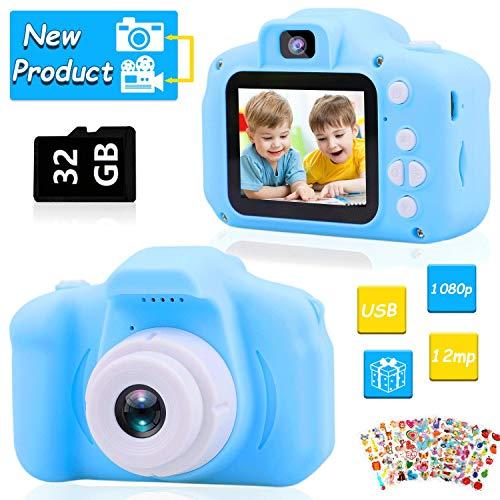 HOWAF Kinder Kamera, Digitale Kamera Selfie und Videokamera Spielzeug, 2.0 Zoll Bildschirm, 1080P HD Digitalkamera, mit 32GB TF Karte, Geburtstags Geschenk für 4-10 Jahre alte Jungen und Mädchen
