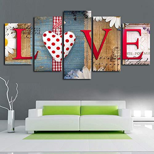 Imprimir Sobre Lienzo 5 Piezas de Cuadros Arte de la Pared Cuadro de Lienzo de la Pared la Imagen para Casa Sala de Estar Décor Dormitorio Moderno decoración,Color Madera, Amor