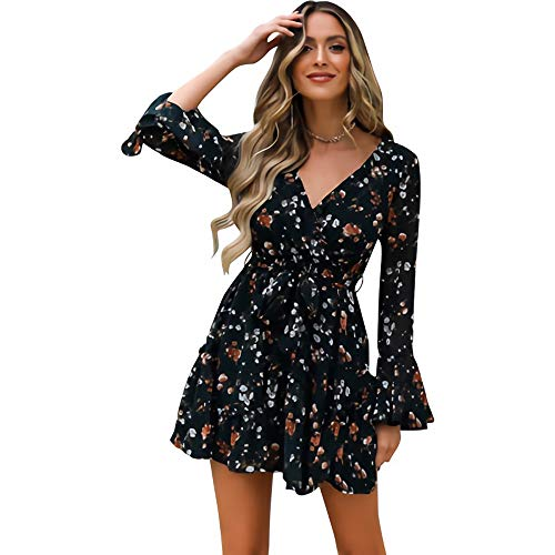 CLELLA Damen Sommerkleid High Waist Blumenkleid mit V-Ausschnitt Minikleid Strandkleid mit Gürtel (Schwarz, L)