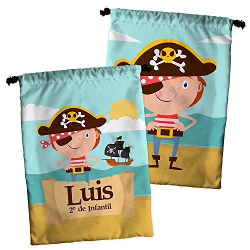 Bolsa Merienda Personalizada con Nombre/Curso   Vuelta al Cole Niña/o   Varios Diseños   Piratas