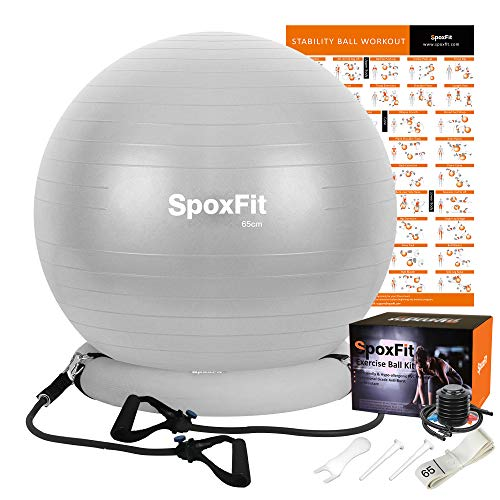 SpoxFit Exercise Ball Chair with Resistance Bands, Perfect for Office, Yoga, Balance, Fitness, Super Strong Holds 660lbs. Set Includes Stable Base, Workout Poster, Pump, Home Gym Bundle-65cm Silver