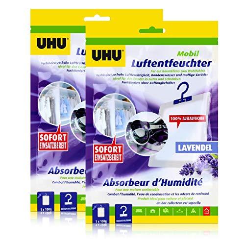 UHU Air max Luftentfeuchter mobil mit Auslauf schutz Duft Lavendel (2er Pack)