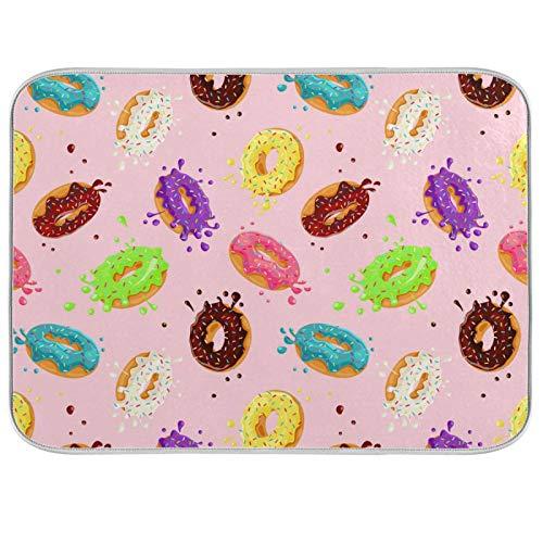 Ghypt - Escurridor de secado rápido para cocina, diseño de donas coloridas, absorbente, de microfibra, antideslizante, de secado rápido, lavable, para el hogar, 45,7 x 60,9 cm