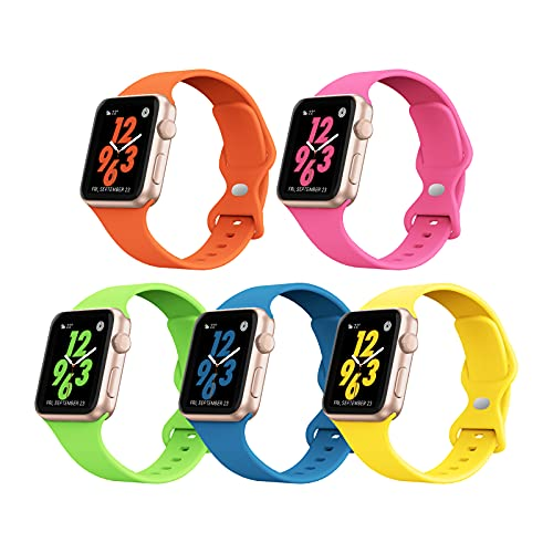 5 PACK STG Sport Watch Band Compatible with Apple Watch Band 38mm 40mm 42mm 44mm Soft Silicone Replacement Sport Strap Compatible for iWatch SE Series 6/5/4/3/2/1 (38/40mm, 5 PACK A)