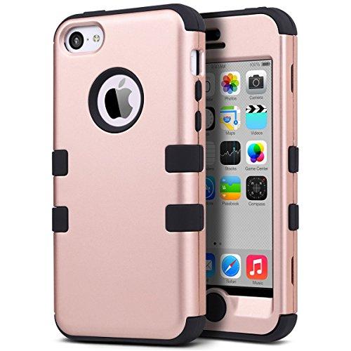 ULAK Cover rigida per iPhone 5C - iPhone 5C Custodia ibrida a 3 strati in silicone a prova di collisione per Apple iPhone 5C (Rose Gold + Black)
