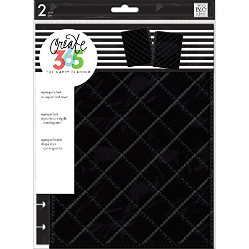 me & my BIG ideas Snap-In Cover - The Happy Planner Scrapbooking Supplies - Black, Quilted Pattern - 1 Set of Front & Back Coordinating Hard Covers - Stylish & Durable Protection - Classic Size