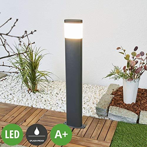 Lampenwelt LED Außenleuchte 'Marius' (spritzwassergeschützt) (Modern) in Alu aus Edelstahl (1 flammig, A+, inkl. Leuchtmittel) - Wegeleuchte, Pollerleuchte, Wegelampe, Sockelleuchte