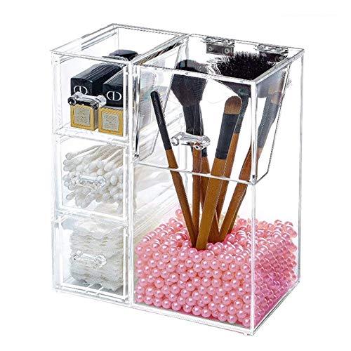Makeup Organizer mit 3/4 Fächern, transparent Glas Makeup Pinsel Aufbewahrungsbox Luxus Kosmetik Aufbewahrungsbox Container für Kommode, Schlafzimmer, Badezimmer (Color : 3 grids)