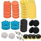 Juego de 52 almohadillas de pulido de 150 mm para taladro y esponja, juego de almohadillas de espuma M14 para taladro con vástago