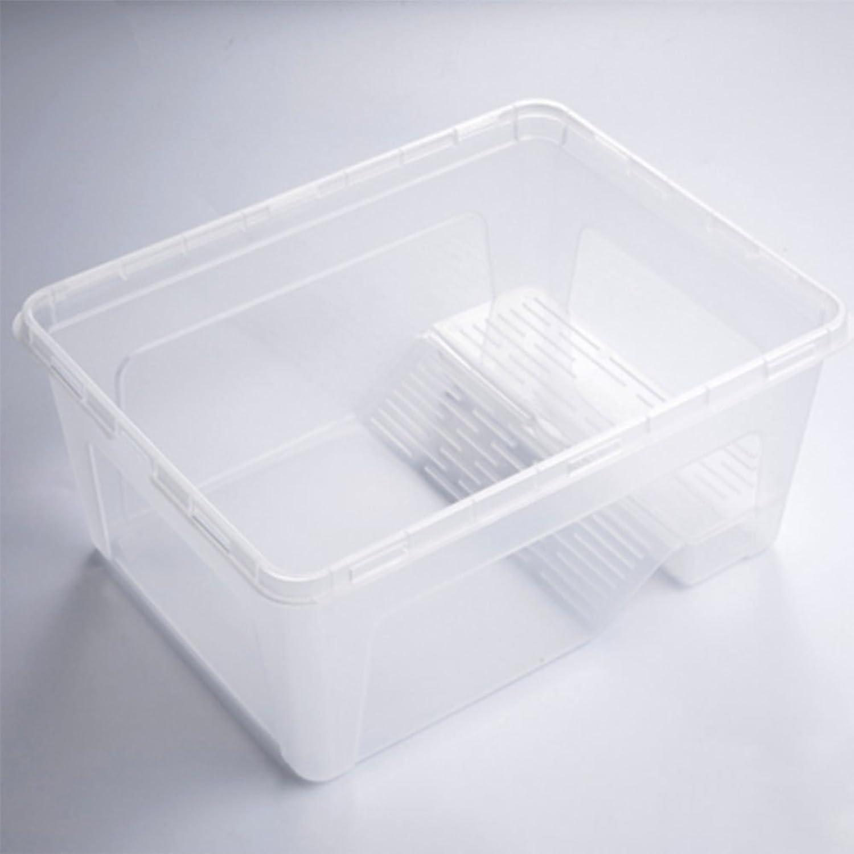 Meiyiu Plastic Turtle Feeding Box Terrapin Food Bowl with Detachable Bask Platform White M