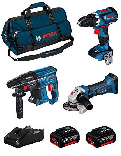 BOSCH Kit 18V BK306BAG (Taladro Atornillador GSR 18V-60 C + Amoladora GWS 18-125 V-LI + Martillo Perforador GBH 18V-21 + 2 Baterías de 4,0 Ah + Cargador + Bolsa)