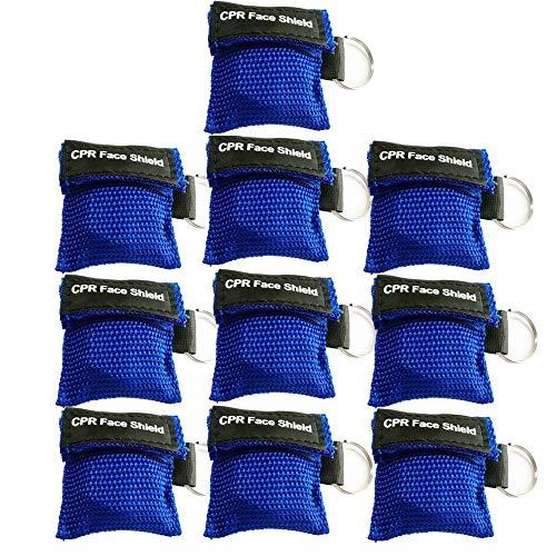 Packung mit 10 Stück blau CPR-Maske Schlüsselbund Keyring Emergency Kit CPR-Gesichtsschutz für Erste-Hilfe- oder CPR-Training (Blue-10)