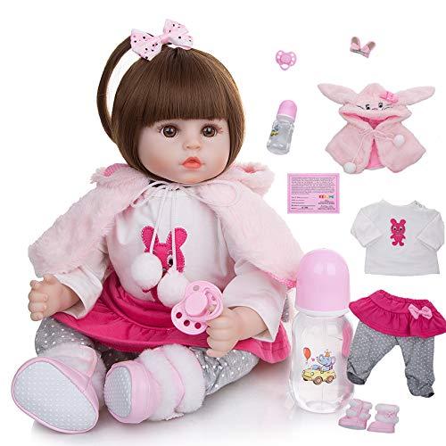 FR&RF Muñecas de bebé renacidas de 45 cm de cuerpo de algodón suave realista de 45 pulgadas de la moda de la princesa de la muchacha de la muñeca de los juguetes del bebé Cosplay conejo