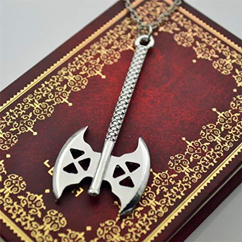 guodong Zwerg Gimlis Axt Halskette Tolkien Gimli Doppelklinge Axt Silber Farbe Anhänger Wikinger Mode Hot Movie Schmuck Männer