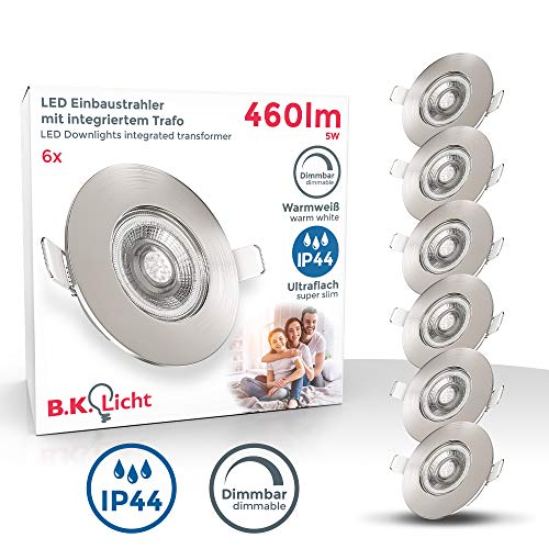 B.K.Licht I 6er Set LED Bad Einbauleuchten I Stufenlos dimmbar I Ultra Flach 25mm I Ø90mm I Matt-Nickel I 6 x 5W LED Platinen I 460 Lumen I 3.000K Warmweiß I IP44 I Bad- Einbaustrahler