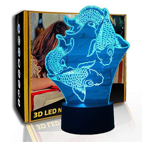 JINYI 3D Luz nocturna Swimming Fish, lámpara de ilusión LED, lámpara de estado de ánimo para niños, E- Base para despertador (7 colores), Regalo para niña, Lámpara de escritorio