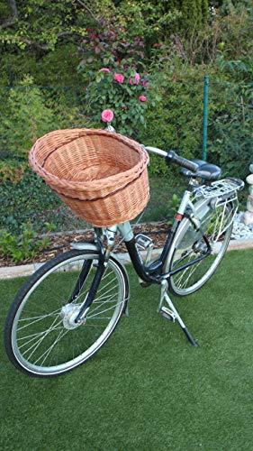 Marcus` Hundefahrradkorb XXL Fahrradkorb für Fahrradlenker aus Weide in Natur Weidenkorb Hundekorb Lenkerkorb Einkaufskorb Hund Radkorb Hundeanhänger