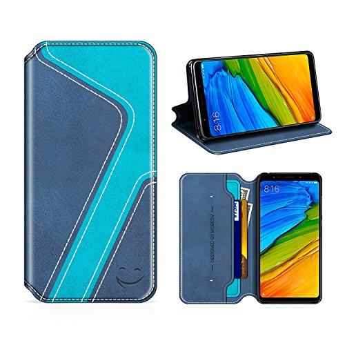 MOBESV Smiley Xiaomi Redmi 5 Plus Hülle Leder, Xiaomi Redmi 5 Plus Tasche Lederhülle/Wallet Hülle/Ledertasche Handyhülle/Schutzhülle mit Kartenfach für Xiaomi Redmi 5 Plus, Dunkel Blau/Aqua