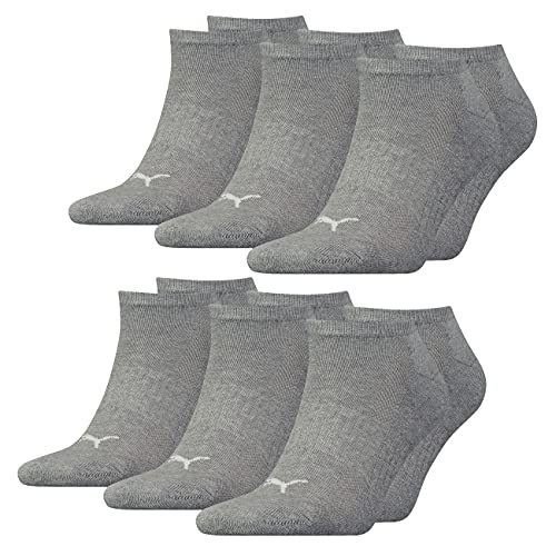 PUMA Unisex Herren Damen Sneaker Socken CUSHIONED 6er Multipack 35-38 39-42 43-46 Schwarz Weiss Blau Grau 83% Baumwolle, Größe:39-42, Packgröße:6 Paar, Farbe:Middle Grey Melange (003)