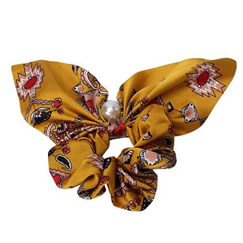 #N/A Ristiege Mousseline de Soie Bowknot Bande De Cheveux Faux Perle Pendentif Grand Intestin Anneau De Cheveux Accessoires De Cheveux,3# Fleur carrée Jaune