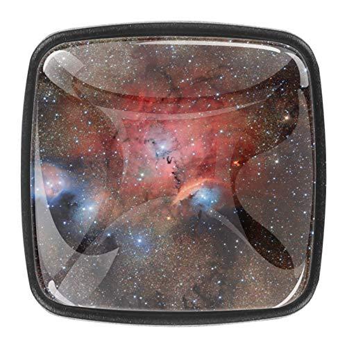 4 pomos de cristal para armario, armario, cajón, tirador de puerta, diseño de galaxia