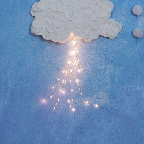 LuminalPark Lichterbündel 50 cm, 60 Micro LEDs warmweiß, silberner Metalldraht, batteriebetrieben, innen