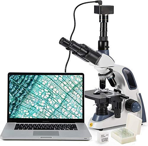 SWIFT SW380T-SC500-5PBC - Microscopio Trinoculare traslucido, 40 x 2500 X, testa di colonna, microscopio Lab, per ricerche con oculare 10X/25X WF, compatibile con fotocamera, incl. Microscopio USB 2.0