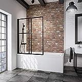 Schulte D1130 68 50 Pare baignoire coulissant noir, paroi pliante et extensible, 2 volets pivotants, verre transparent, 70-118 x 140 cm