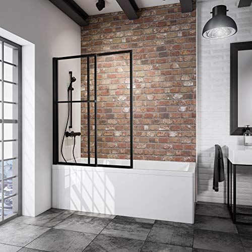 Schulte 120 x 140 cm Mampara ducha para bañera, 2 hojas plegables, perfil negro y cristal transparente, D1130 68 50
