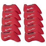 LEGENDTIMES Golf Club Headcovers, 10 Pcs Gold Club Neoprene Iron Head Covers for Titleist, Callaway, Ping, Taylormade, Mizuno (10 pcs), Red Color
