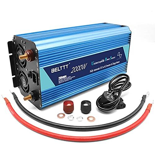 QTWW Inversor de Corriente para Coche 2000/4000 Watts Inversor de Corriente Inversor de Onda sinusoidal Pura 12v 24v Carga e inversor Integrado con Pantalla LCD USB Convertidor de Corriente 24V-2