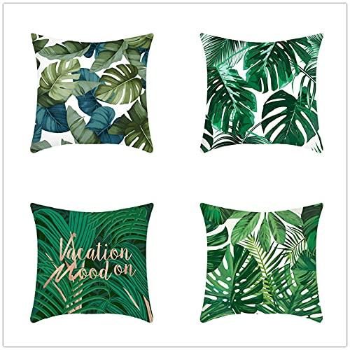4 Pack Throw Pillow Case 45x45cm Funda de Almohada Decorativa Cuadradas Algodón de Lino Doble Cara con Cremallera Invisible para Exterior Sofá Dormitorio Coche(Hojas Verdes Tropicales,18x18inch)