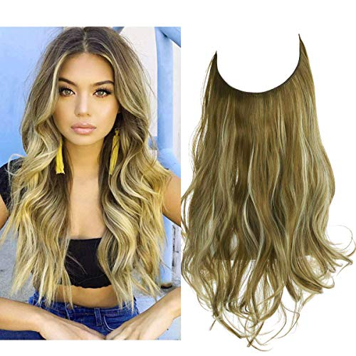 Halo Hair Extension Curly Long Synthetic Hairpiece Green Brown With Beach Blonde Highlight 18 Inch 4.2 Oz Hidden Wire...