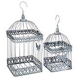 Juego de 2 jaulas de pájaros decorativas – estilo hierro forjado – Color Gris desgastado blanco