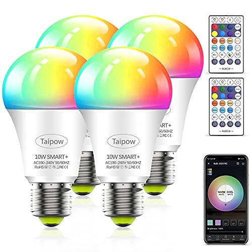 Taipow Led Ampoule Connectée Alexa, E27 10W Ampoule Wifi Multicolore avec Télécommande, Ampoule RGB Couleur compatible avec Alexa Echo, Google Home - Lot de 4