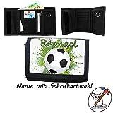 Kinder Geldbörse mit Name/Fußball Geldbeutel/Klettverschluss/Personalisiert/Schriftart Wählbar