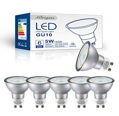 GU10 LED Neutralweiss   GU10 LED Lampe   5w Ersetzen 45W Halogen Lampen   Neutralweiß 4500 Kelvin   120 Grad Abstrahlwinkel   450 Lumen   Nicht Dimmbar   LED Birnen   LED Leuchtmittel   6er Pack